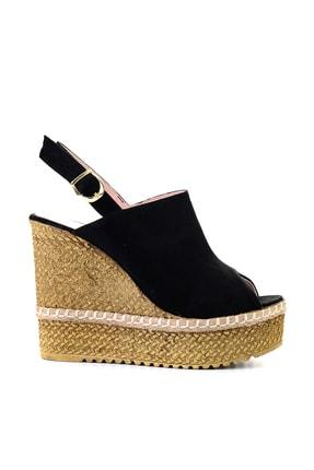 Bambi Siyah Süet Kadın Dolgu Topuklu Ayakkabı L0501803365 1