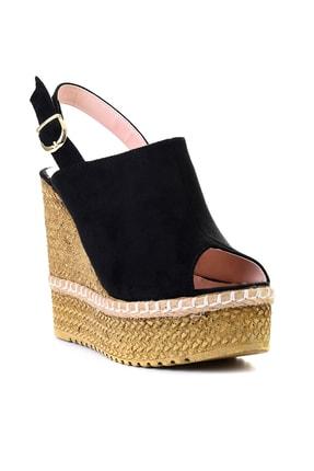 Bambi Siyah Süet Kadın Dolgu Topuklu Ayakkabı L0501803365 2