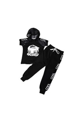 NANİCA N220610-syh Cool Baskılı Kapşonlu Body Alt Kız Çocuk Takım-siyah 0