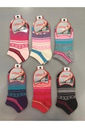Idilfashion 12'li Kadın Xox Desen Patik Çorabı B-art023 - Karışık LATB-ASO-12-14