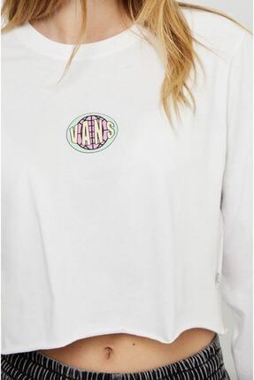 Vans Kadın Beyaz Ovaloid Long Sleeve Crop Tişört 4