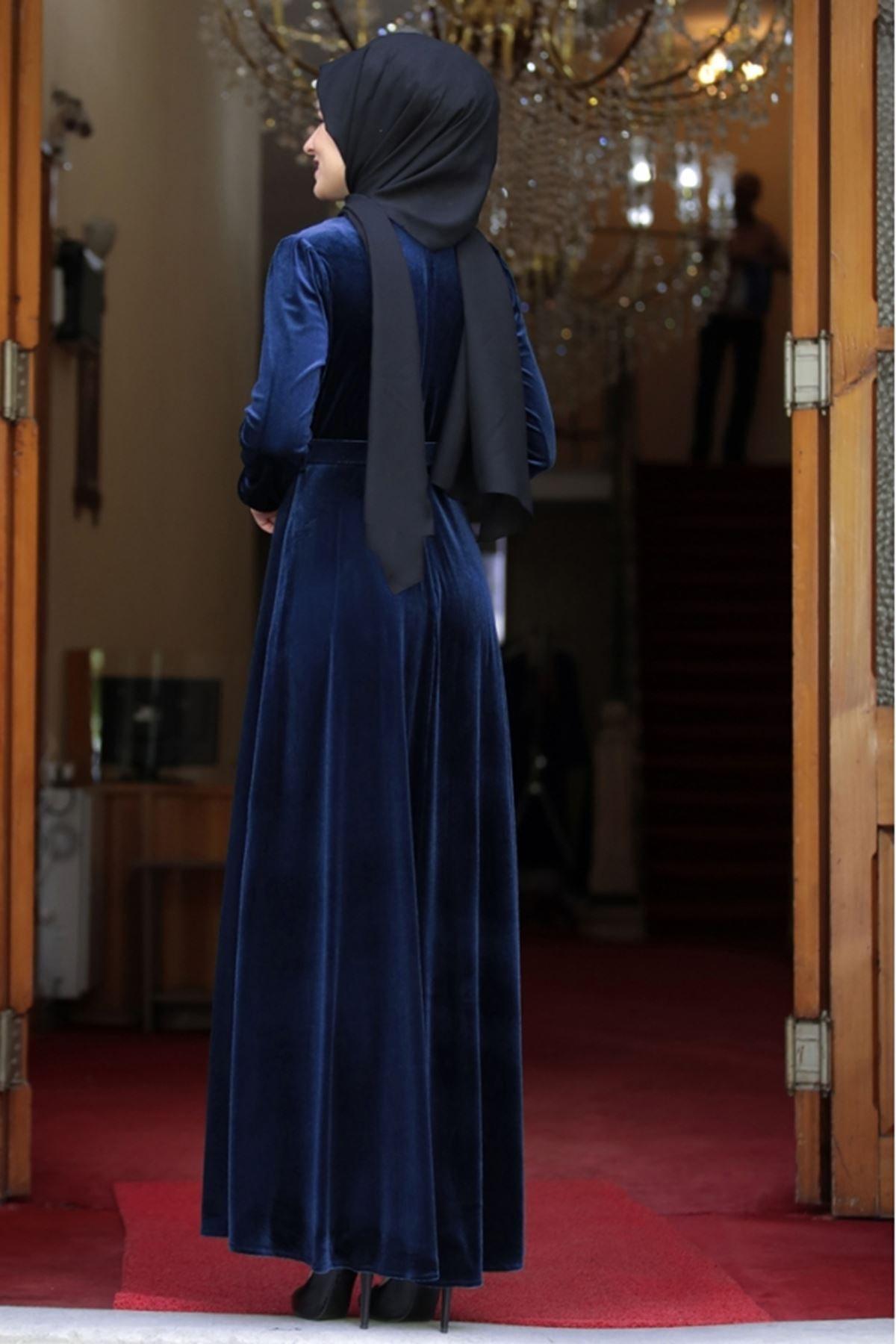Tesetturabiye Tesettür Elbise Tutku Kadife Lacivert