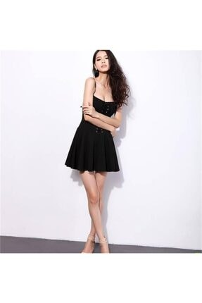 lovebox Esnek Dalgıç Kumaş Önden Bağcık Detaylı Askılı Siyah Kiloş Elbise 1