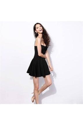 lovebox Esnek Dalgıç Kumaş Önden Bağcık Detaylı Askılı Siyah Kiloş Elbise 3