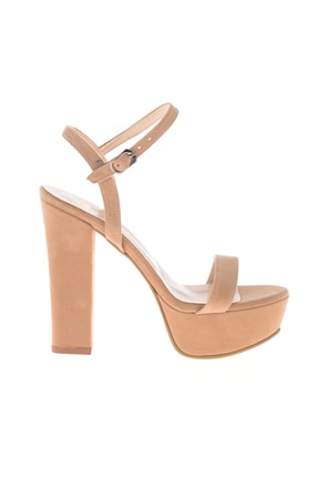 Bambi Bej Süet Kadın Abiye Ayakkabı L0527052072 1