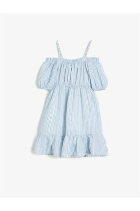 Koton Kız Çocuk Mavi Askılı Kısa Kollu Düğme Detaylı Çizgili Elbise 1