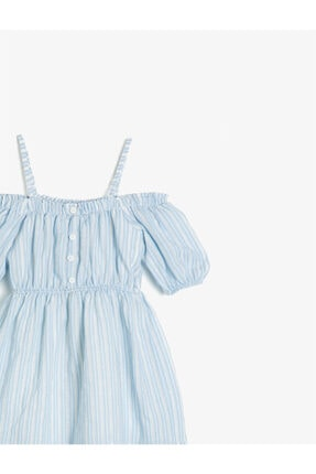 Koton Kız Çocuk Mavi Askılı Kısa Kollu Düğme Detaylı Çizgili Elbise 2