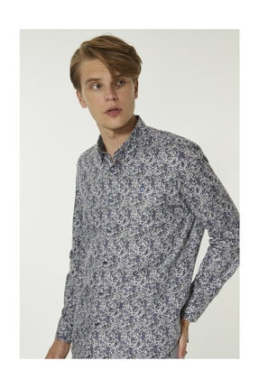 Avva Erkek Mor Baskılı Alttan Britli Yaka Slim Fit Gömlek A92y2052 1