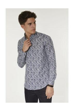 Avva Erkek Mor Baskılı Alttan Britli Yaka Slim Fit Gömlek A92y2052 3