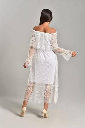 Modakapimda Beyaz Güpür Kayık Yaka Elbise 1