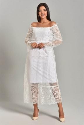 Modakapimda Beyaz Güpür Kayık Yaka Elbise 3