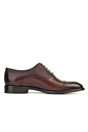 Cabani Oxford Kaymaz Esnek Kauçuk Tabanlı Bağcıklı Günlük Erkek Ayakkabı Kahve Antik Deri 1