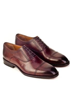 Cabani Oxford Kaymaz Esnek Kauçuk Tabanlı Bağcıklı Günlük Erkek Ayakkabı Kahve Antik Deri 4