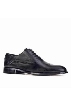 Cabani Oxford Bağcıklı Lazer Detaylı Neolit Enjeksiyonlu Erkek Ayakkabı Siyah Antik Deri 0