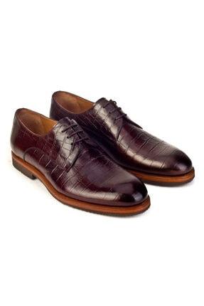 Cabani Hafif Light Taban Bağcıklı Erkek Ayakkabı Kahve Croco Deri 4