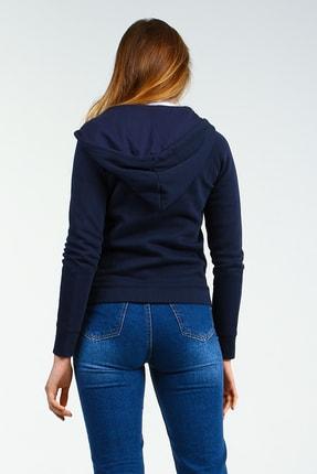 Collezione Lacivert Kapişonlu Fermuarlı Ön Cepli Uzun Kollu Kadın Sweatshirt 2