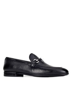 Cabani Toka Aksesuarlı Geyik Derisi Kaymaz Taban Loafer - Erkek Ayakkabı Siyah 0