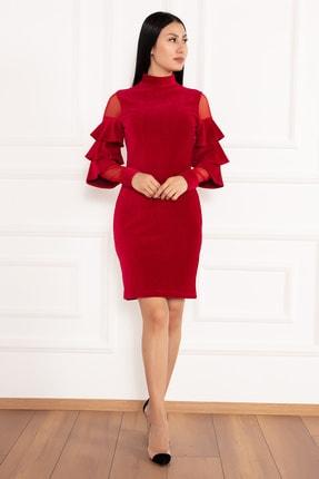 PULLIMM Hacto 3970 Kolları Fırfırlı Fitilli Kadife Elbise 0