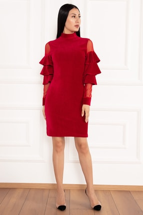 PULLIMM Hacto 3970 Kolları Fırfırlı Fitilli Kadife Elbise 2