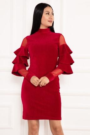 PULLIMM Hacto 3970 Kolları Fırfırlı Fitilli Kadife Elbise 3