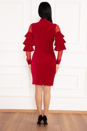 PULLIMM Hacto 3970 Kolları Fırfırlı Fitilli Kadife Elbise 4