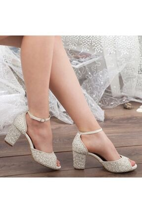 Adım Adım Sedef Platform Topuk Bilekten Bağlama Abiye Gelin Kadın Ayakkabı • A192ysml0013 2