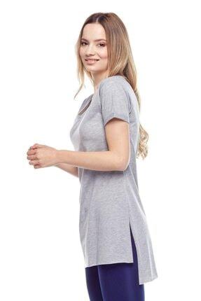 Tena Moda Kadın Gri V Yaka Yanı Yırtmaçlı Tunik 3