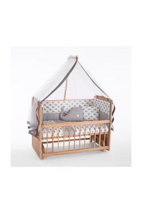 Heyner Ahşap Beşik Anne Yanı Beşik Sallanır Beşik Organik 60x120 + Gri Balina Uyku Seti + Yatak 0