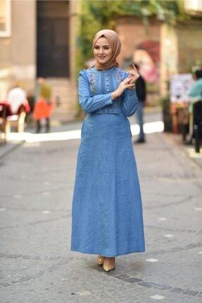 Modamihram Fiyonk Detaylı Nakışlı Tesettür Elbise Açık Kot 4