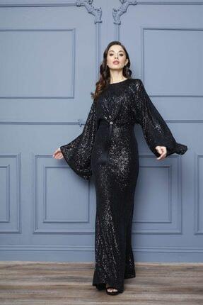 Esswaap Siyah - Kolu Volanlı Önü Püsküllü Pul Payet Abiye Elbise 1