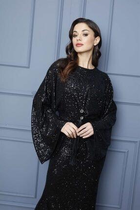 Esswaap Siyah - Kolu Volanlı Önü Püsküllü Pul Payet Abiye Elbise 2