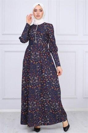 Modamihram Düğme Detaylı Tesettür Elbise Lacivert 1