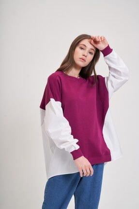 Mizalle Youth Poplin Gömlek Detaylı Sweatshirt (Mürdüm) 0