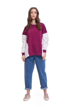 Mizalle Youth Poplin Gömlek Detaylı Sweatshirt (Mürdüm) 1
