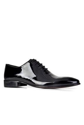 Cabani Bağcıklı Damatlık Klasik Erkek Ayakkabı Siyah Rugan 0