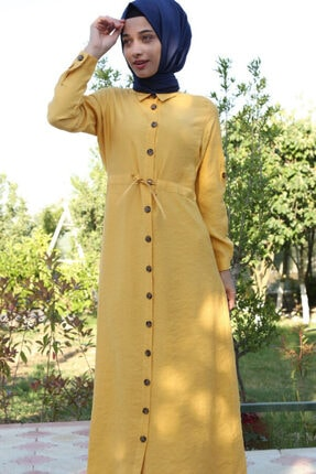 1668 Boydan Düğmeli Bel Ip Bağlama Tesettür Elbise resmi