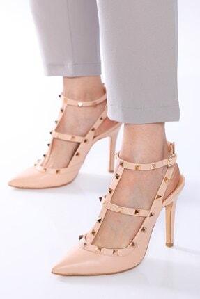 Nizar Deniz Malenti Ten Mat Zımbalı Kadın 11cm Ince Topuklu Ayakkabı 0