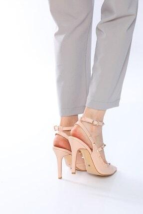 Nizar Deniz Malenti Ten Mat Zımbalı Kadın 11cm Ince Topuklu Ayakkabı 4