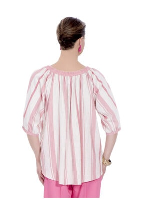 Günay Kadın Bluz Ccaktar Ilkbahar Yaz Geniş Yaka Pamuk-pembe 1