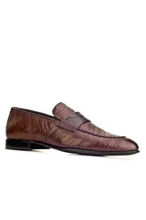 Cabani Örgülü Derili Neolit Enjeksiyon Tabanlı Loafer Erkek Ayakkabı Kahve Deri 0