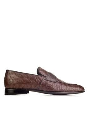 Cabani Örgülü Derili Neolit Enjeksiyon Tabanlı Loafer Erkek Ayakkabı Kahve Deri 1