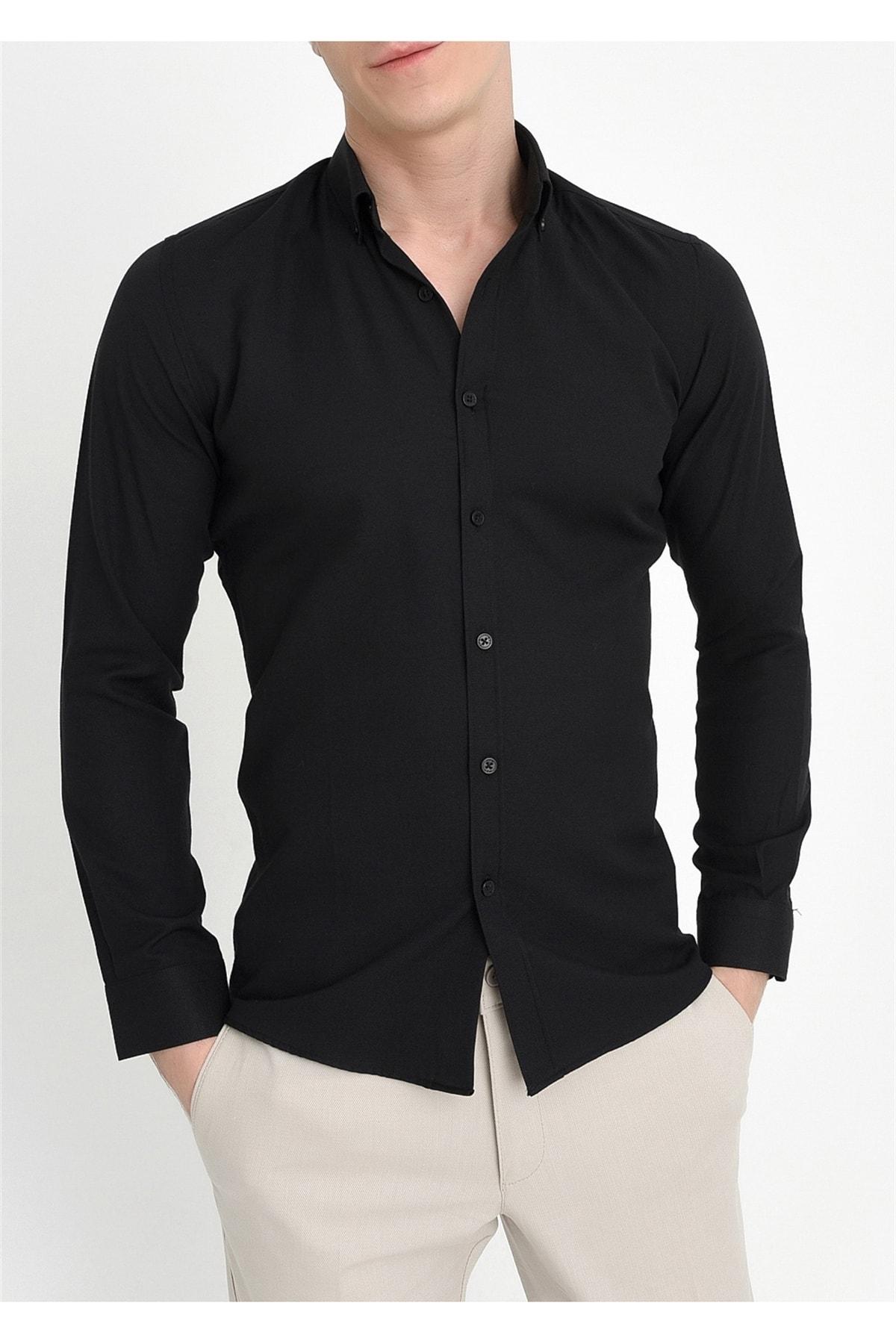 Gk 560 Slim Fit Siyah Klasik Gömlek