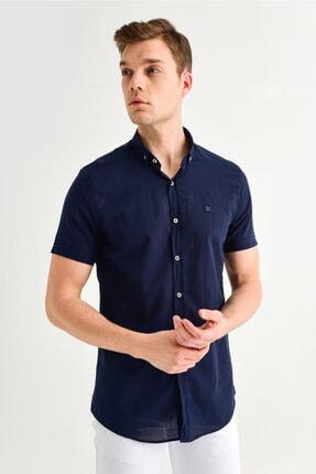 Avva Erkek Lacivert Düz Düğmeli Yaka Slim Fit Kısa Kol Vual Gömlek A01s2210 0
