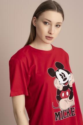 Tena Moda Kadın Kırmızı Mickey Mouse Baskılı Tişört 3
