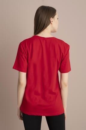 Tena Moda Kadın Kırmızı Mickey Mouse Baskılı Tişört 4