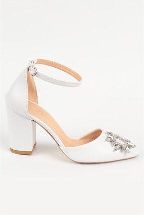 Nizar Deniz Maureen Beyaz Mat Sivri 8cm Kristal Taşlı Kalın Topuklu Kadın Gelin Ayakkabısı 4