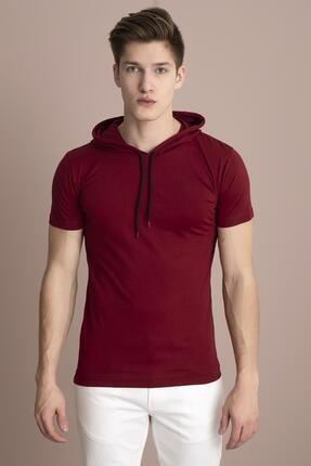 Tena Moda Erkek Bordo Kapüşonlu Düz Tişört 1