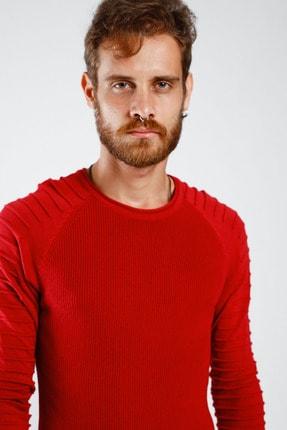 Lafaba Erkek Kırmızı Kolları Nervürlü Triko 2