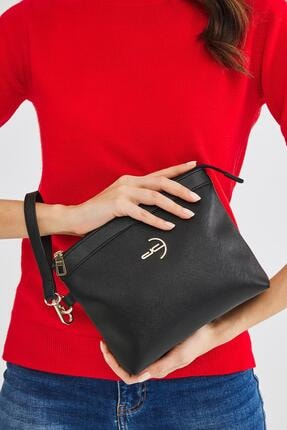 Deri Company Kadın Basic Clutch Çanta Düz Desenli Logolu Siyah (4010s) 214009 1