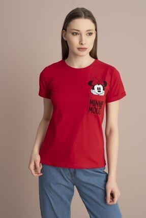 Tena Moda Kadın Kırmızı Minnie Mouse Yazılı Tişört 1